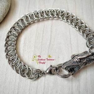 Ръчно изработена гривна от стомана Змия